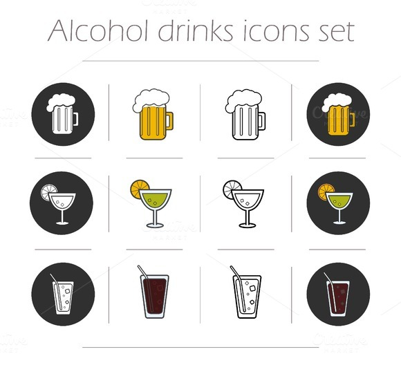 Alcoholic drinks. 12 icons. Vector - Icons