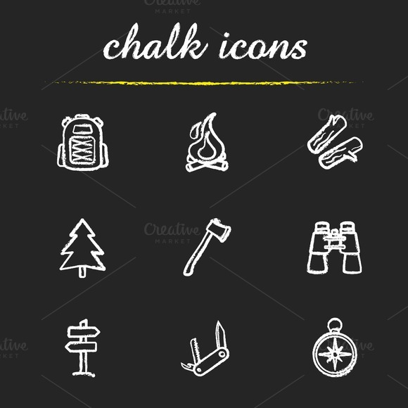 Camping. 9 icons. Vector - Icons
