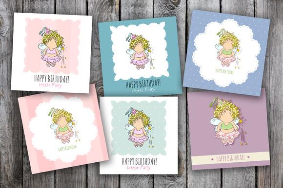 6 birthday cards. little fairy  - Illustrations