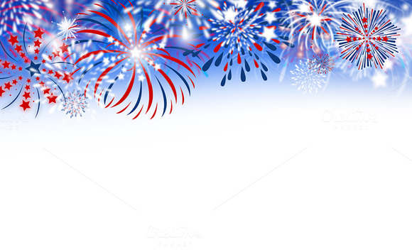 Animated Fireworks White Background