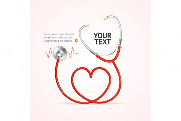 Red Stethoscope. Vector - Illustrations