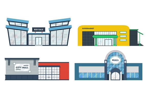 Set Of Flat Supermarket Buildings