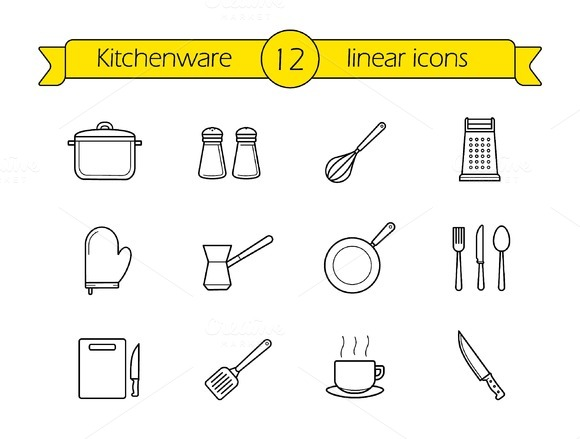 Kitchenware. 12 linear icons. Vector - Icons