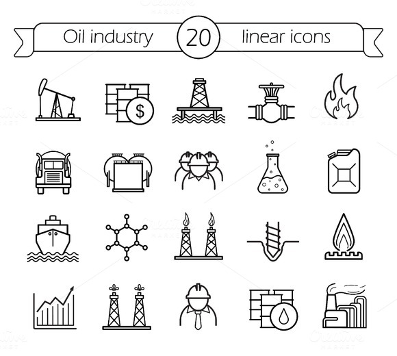 Oil industry. 20 icons. Vector - Icons
