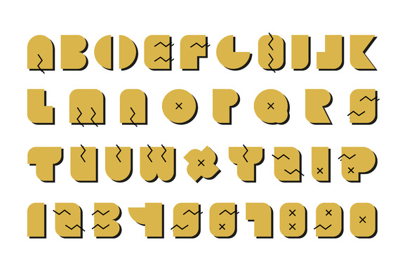 Vector alphabet. Gold memphis font. - Objects