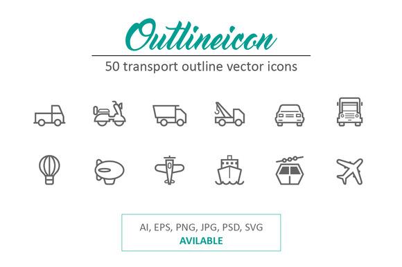 50 Outline Stroke Transport Icons