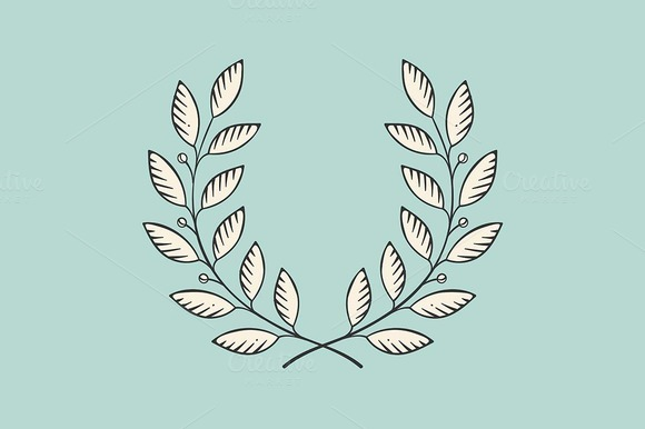 Laurel wreath icon. Engraving styl - Illustrations