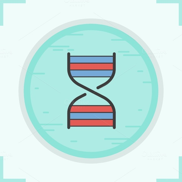 DNA strand color icon. Vector - Icons