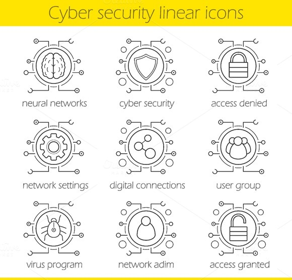 Cyber security. 9 icons. Vector - Icons