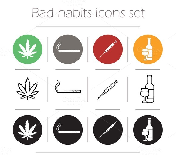 Bad habits. 12 icons set. Vector - Icons
