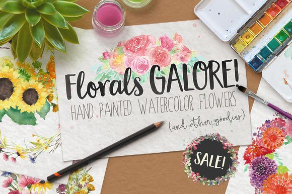 Watercolor Clip Art Flowers SALE