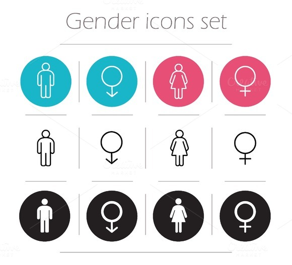 Gender. 12 icons set. Vector - Icons
