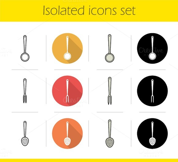 Kitchen tools. 12 icons. Vector - Icons