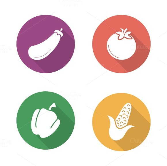 Vegetables. 4 icons. Vector - Icons