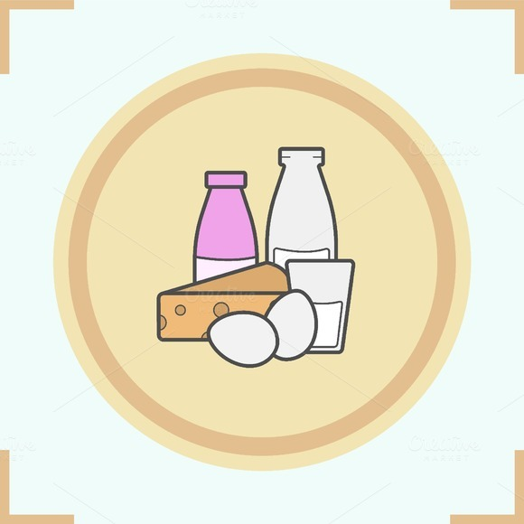Dairy products color icon. Vector - Icons