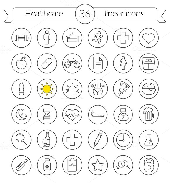 Healthcare. 36 linear icons. Vector - Icons
