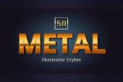 50 Metal Illustrator Styles-Graphicriver中文最全的素材分享平台