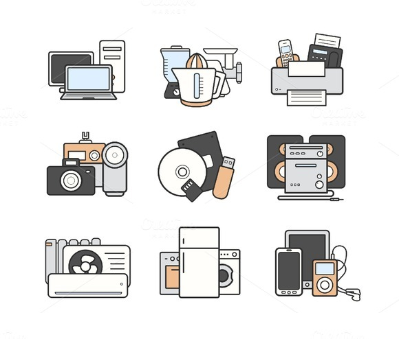 Electronics. 9 color icons. Vector - Icons