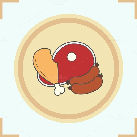 Meat products color icon. Vector - Icons