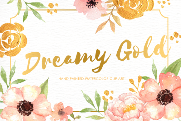 Dreamy Gold Flower Clipart Illustrations On Creative Market