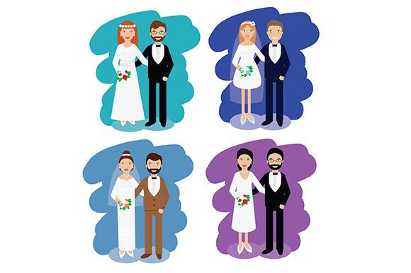 Wedding pairs. happy couples. vector - Graphics