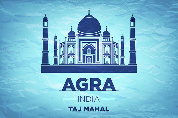 Taj Mahal on blue background. vector - Graphics