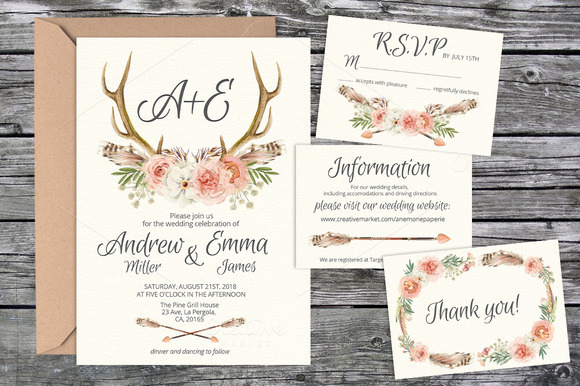 Wedding Invitation Suite Templates: Wedding Invite Suite Templates 03
