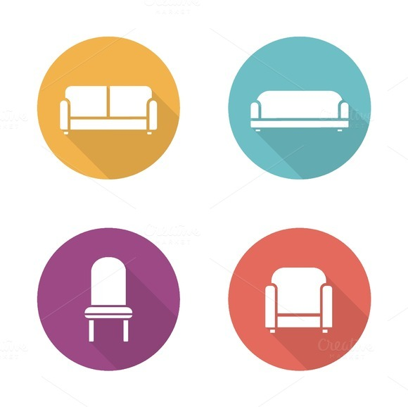 Soft furniture. 4 icons. Vector - Icons