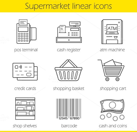 Supermarket shopping 9 icons. Vector - Icons