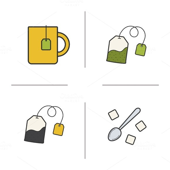 Tea. 4 color icons set. Vector - Icons