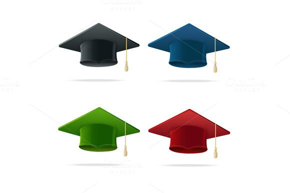 Student Hat Set Graduated. Vector - Illustrations