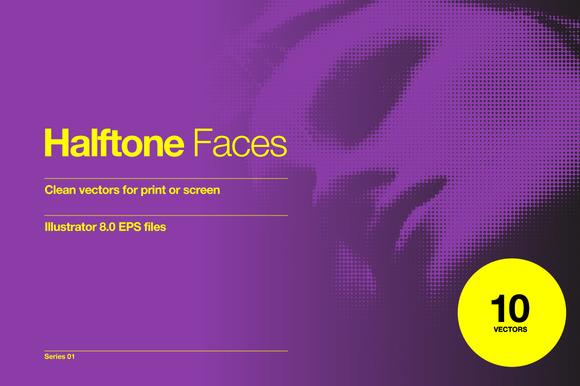Halftone Faces 10 Vectors