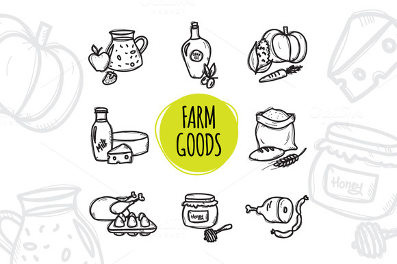8 Doodle Icons. Farm Food - Icons
