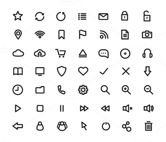 Digital multimedia. 49 icons. Vector - Icons