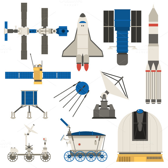 Space Ship Transport Vector Set