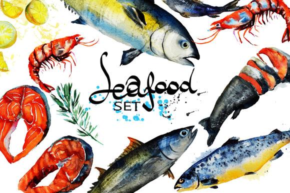 Seafood set.Watercolor - Illustrations