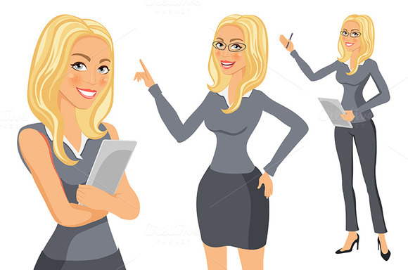 Girl. young women in elegant office - Graphics
