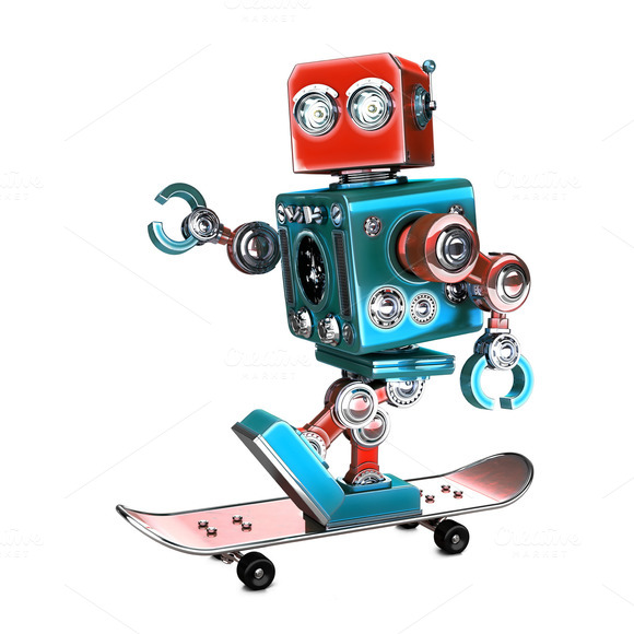 Cute 3D Retro Robot riding a skateboard. 3D illustration. Isolated. Contains clipping path - Illustrations