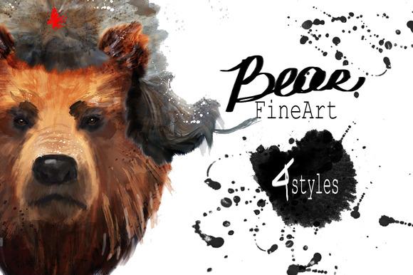 Set bear portraits .4 styles - Illustrations