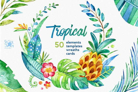 Tropical. Watercolour collection - Illustrations