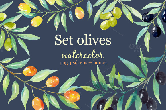 Olive set. Watercolor сollection. - Graphics
