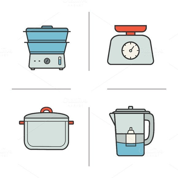 Kitchen appliances. 4 icons. Vector - Icons