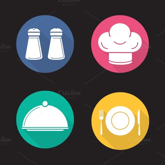 Restaurant kitchen. 4 icons. Vector - Icons