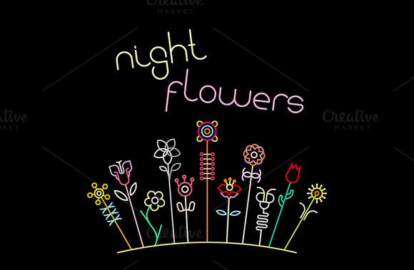 Night Flowers. 2 variants - Illustrations