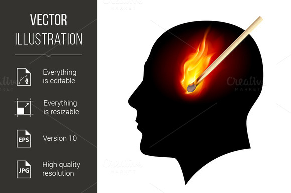 Creative ideas. Burning match concep - Graphics