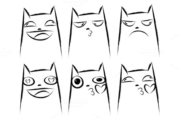 Set of cats emotions. Cats faces. - Illustrations
