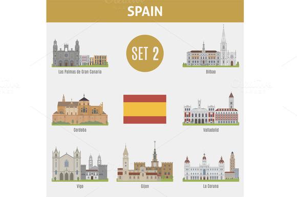 Famous Places Spain cities. Set 2 - Icons