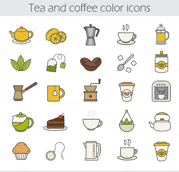 Tea and coffee. 25 icons. Vector - Icons