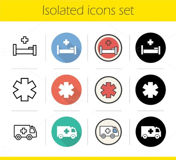 Ambulance. 12 icons. Vector - Icons
