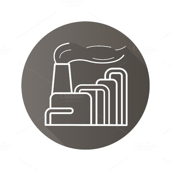 Factory with smoke icon. Vector - Icons